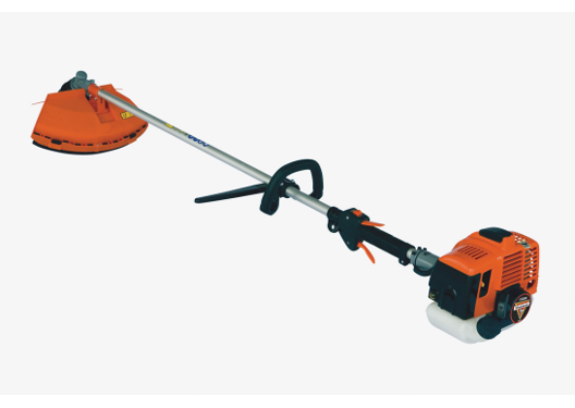 Brush cutter, Straight shaft, Metal cutting blade, Safety harness, Full crankshaft engine, 26cc 2-stroke engine, easy mound handle, safety guard.