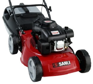 Sanli Lawn Mower, OHV 4 Stroke, 4 blade cutting system, Heavy duty steel chassis, Twin grip grass cutter.